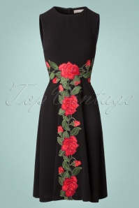 50s Orian Geisha Tales Swing Dress in Black