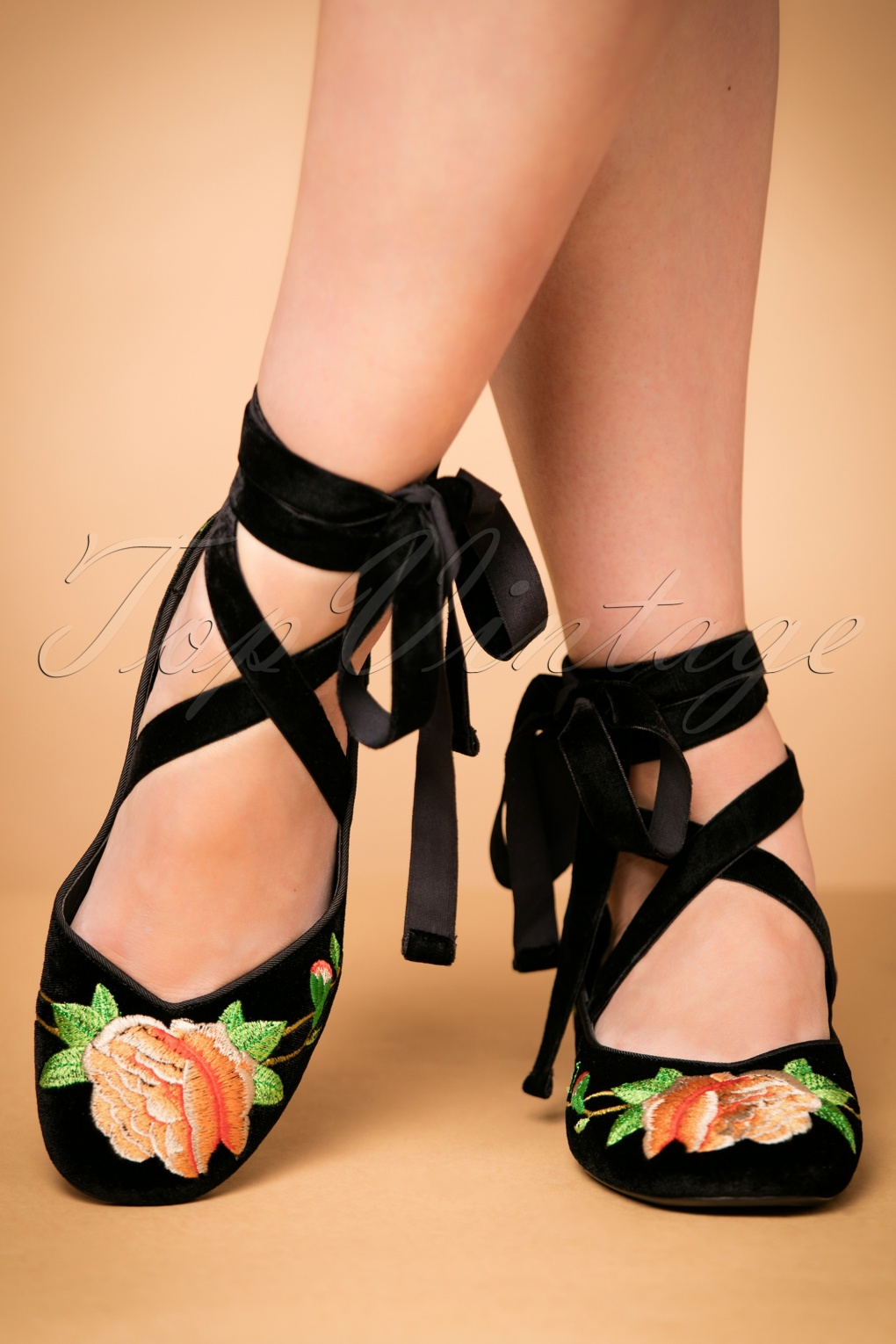 Vintage Style Shoes, Vintage Inspired Shoes 30s Phoebe Floral Ballerina in Black Velvet £87.22 AT vintagedancer.com