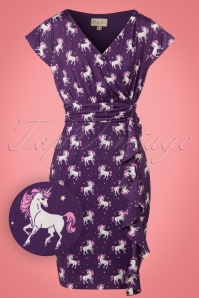 50s Niamh Unicorn Wrap Dress in Purple
