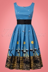 Lindy Bop Blak Cat Dress in Blue 102 39 22885 20170821 0006W