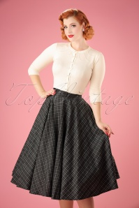 Vixen 50s Bridget Tartan Flare Skirt in Grey