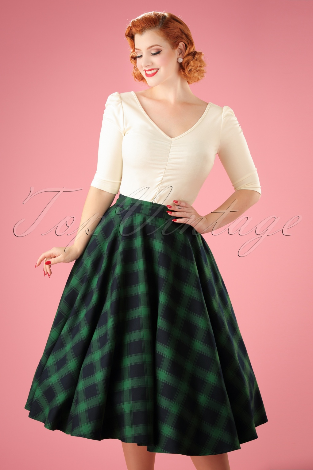 Retro Skirts: Vintage, Pencil, Circle, & Plus Sizes 50s Marienne Full Swing Skirt in Green £38.46 AT vintagedancer.com