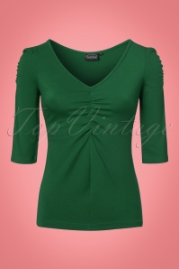 50s Von Teese Top in Forest Green