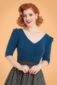 50s Von Teese Top in Petrol Blue