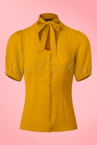 Vixen Candice Neck Blouse in Yellow 112 80 22039 20170821 0007w