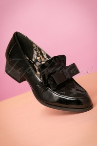 40s Gabriella Bow Loafers in Black