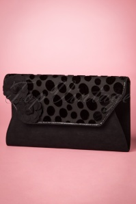 50s Capri Polkadot Clutch in Black