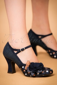 50s Dee Spotted Pumps in Navy