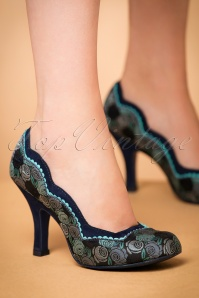 50s Madison Floral Pumps in Blue