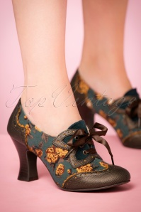 40s Daisy Floral Booties in Olive