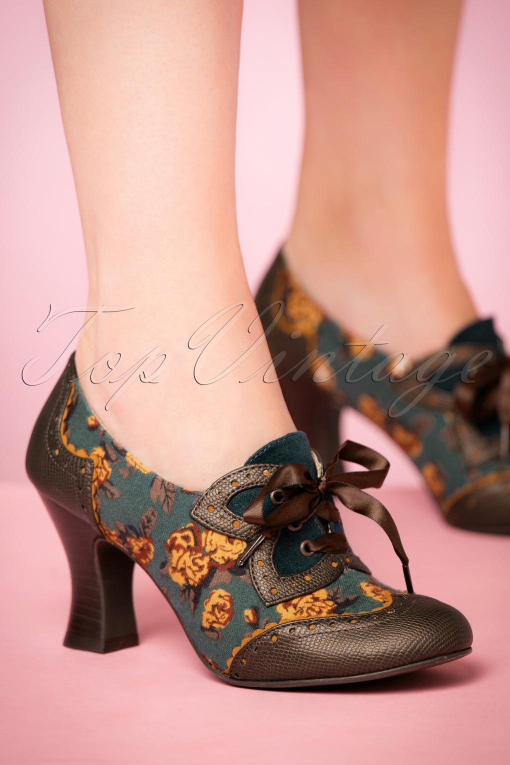 1940s Style Shoes 40s Daisy Floral Booties in Olive £73.82 AT vintagedancer.com