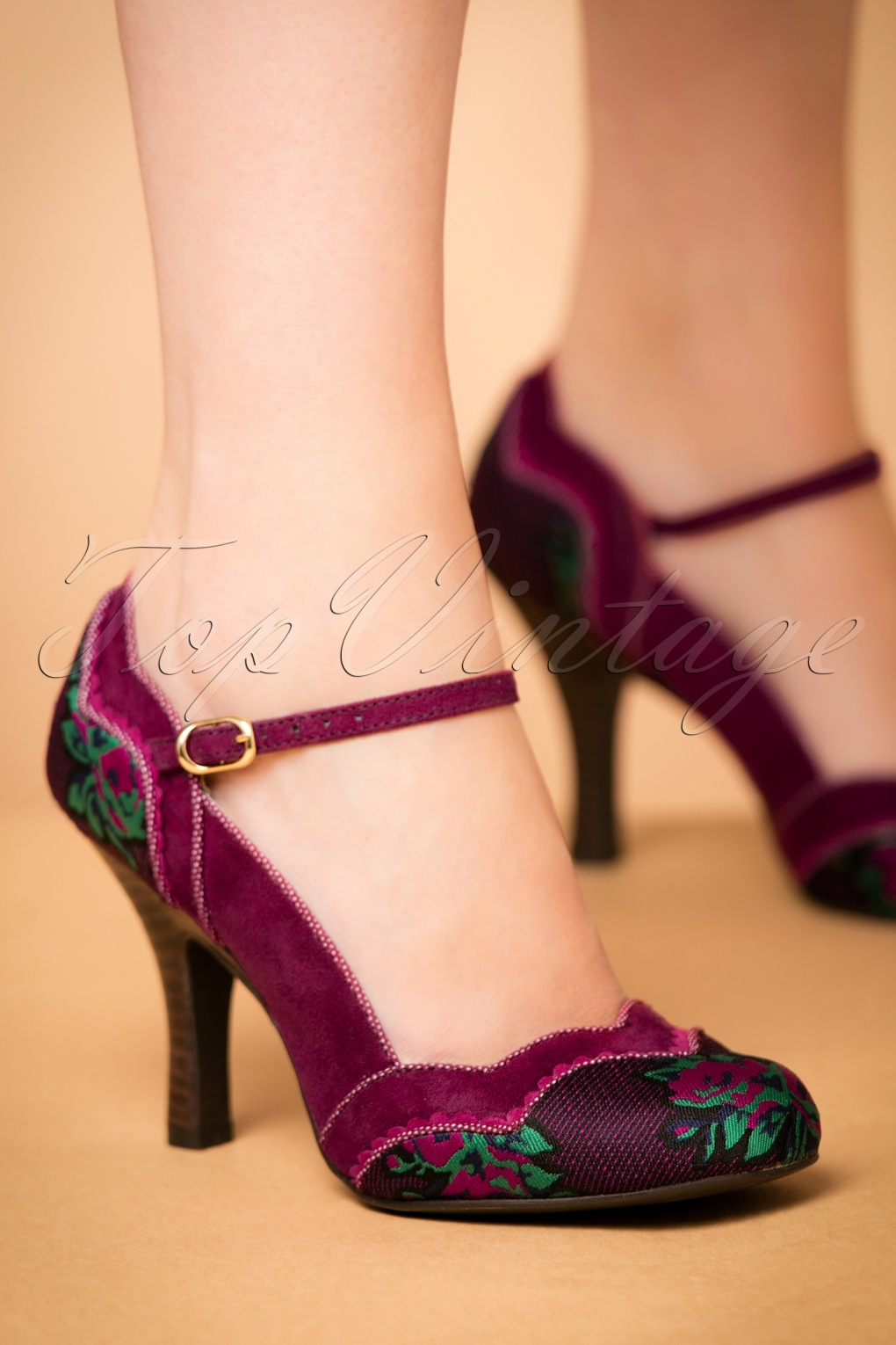 1950s Style Shoes 50s Imogen Floral Pumps in Plum £72.14 AT vintagedancer.com