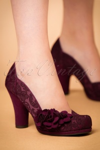 50s Charlotte Pumps in Burgundy
