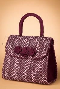 40s Bari Tweed Handbag in Burgundy