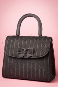 40s Saigon Pinstripe Handbag in Grey