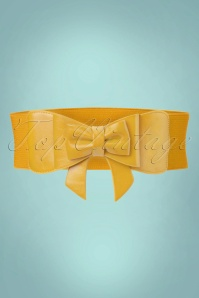 Banned Retro 50s Play It Right Bow Belt in Mustard