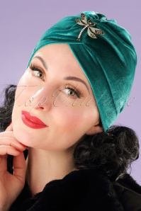 20s Viola Velvet Turban Hat in Teal
