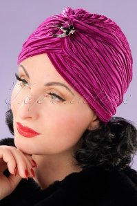 20s Viola Velvet Turban Hat in Pink