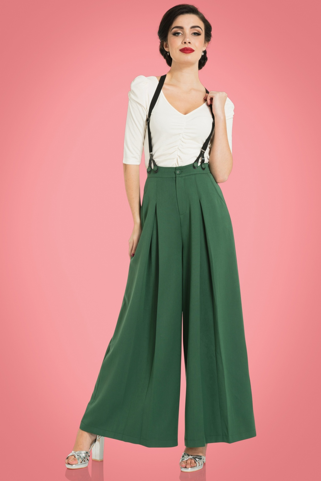 Vintage High Waisted Trousers, Sailor Pants, Jeans 40s Laura Trousers in Forest Green £41.39 AT vintagedancer.com