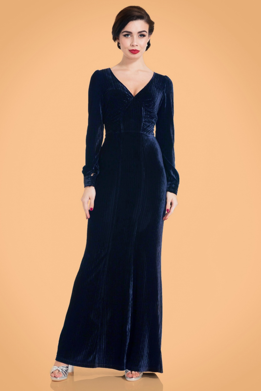 1930s Style Fashion Dresses 30s Nicki Velvet Maxi Dress in Navy £64.25 AT vintagedancer.com