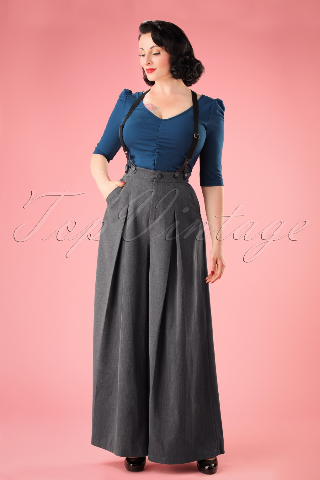 Vintage High Waisted Trousers, Sailor Pants, Jeans 40s Khloe Trousers in Grey £41.29 AT vintagedancer.com