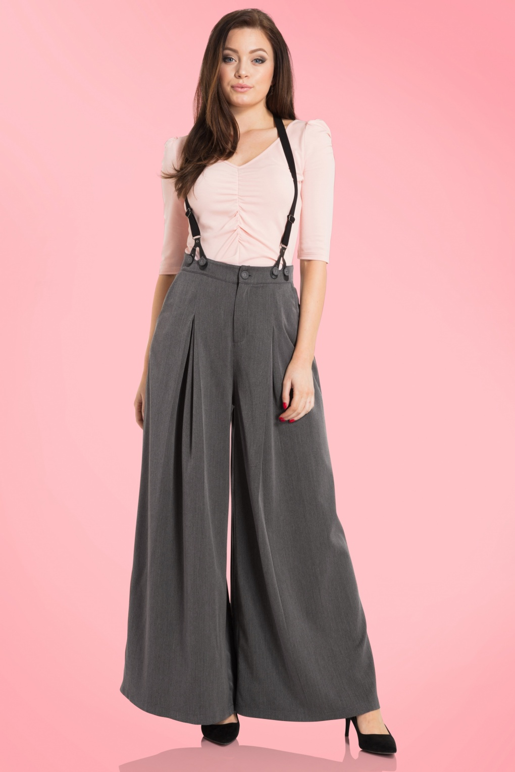 Vintage High Waisted Trousers, Sailor Pants, Jeans 40s Khloe Trousers in Grey £40.09 AT vintagedancer.com