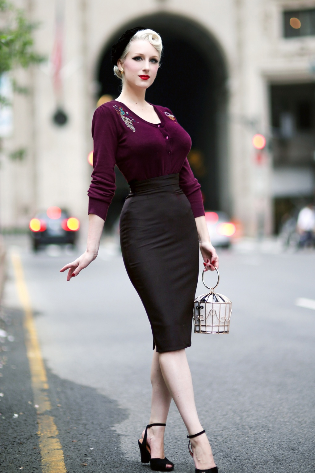 Retro Skirts: Vintage, Pencil, Circle, & Plus Sizes 50s High Time Pencil Skirt in Black £45.07 AT vintagedancer.com