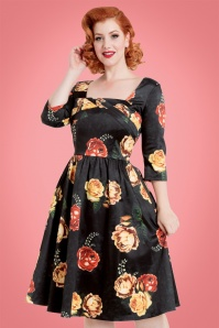 50s Meg Floral Swing Dress in Black