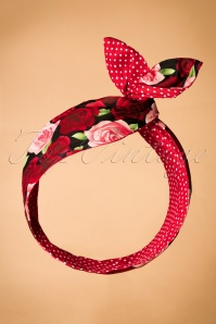 50s I Want Polkadots and Roses In My Hair Scarf in Red