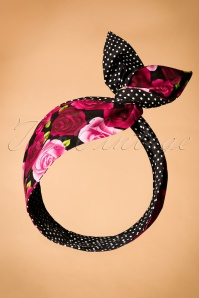 50s I Want Polkadots and Roses In My Hair Scarf in Black
