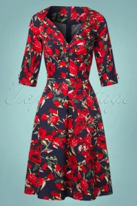 50s Rose Floral Swing Dress in Navy