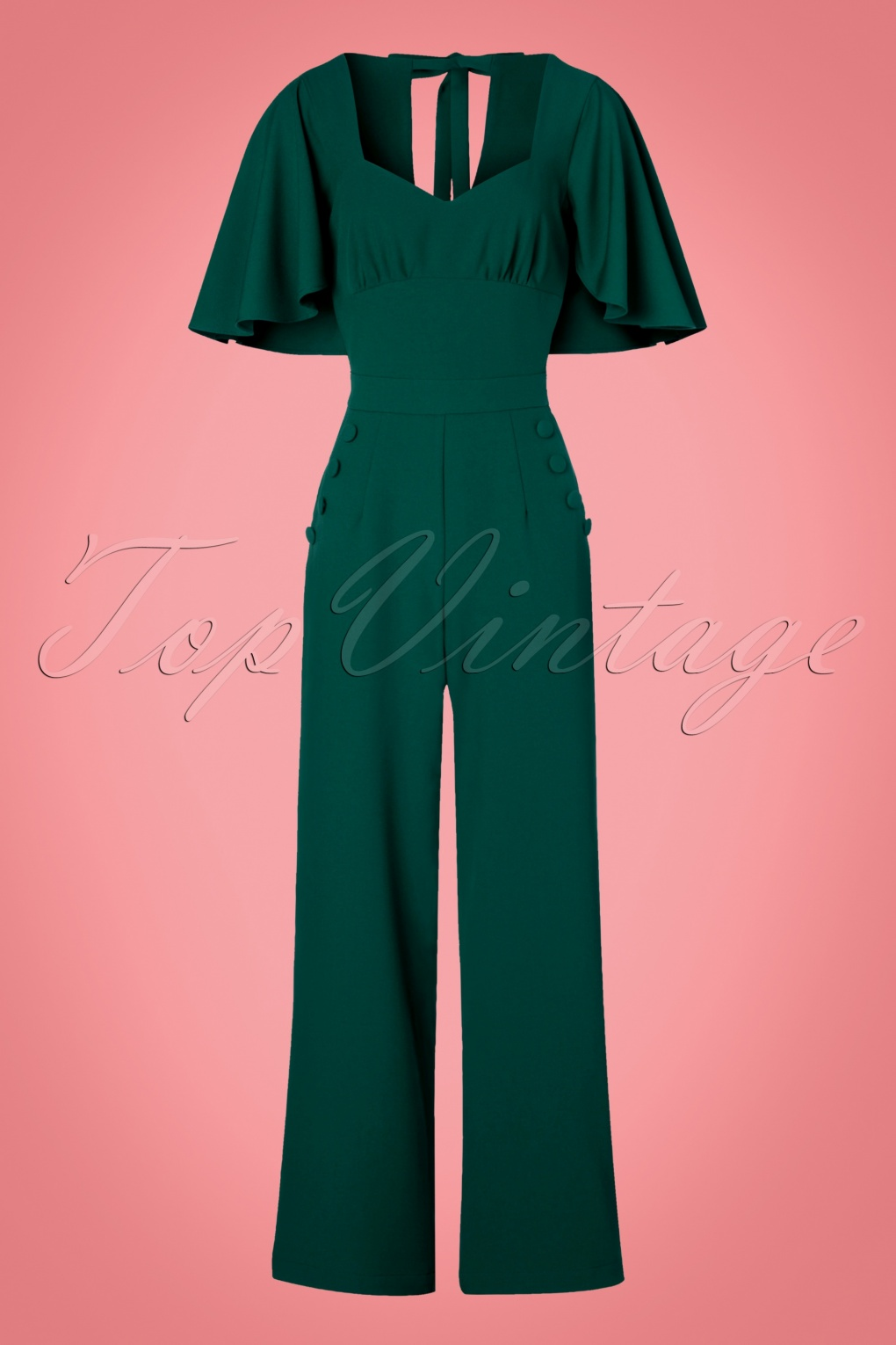 Vintage Overalls 1910s -1950s Pictures and History 40s Esmeralda Cape Jumpsuit in Teal Green £66.70 AT vintagedancer.com