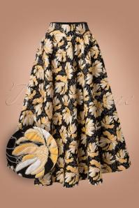 Traffic People Black Gold Floral Skirt 122 14 21572 20170818 0002W1