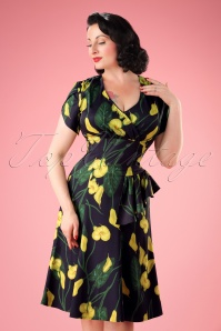 40s Flora Calla Lily Dress in Dark Navy