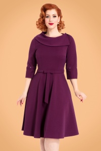 40s Belle Faux Fur Collar Dress in Purple