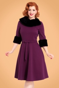 40s Belle Faux Fur Collar Dress in Purple