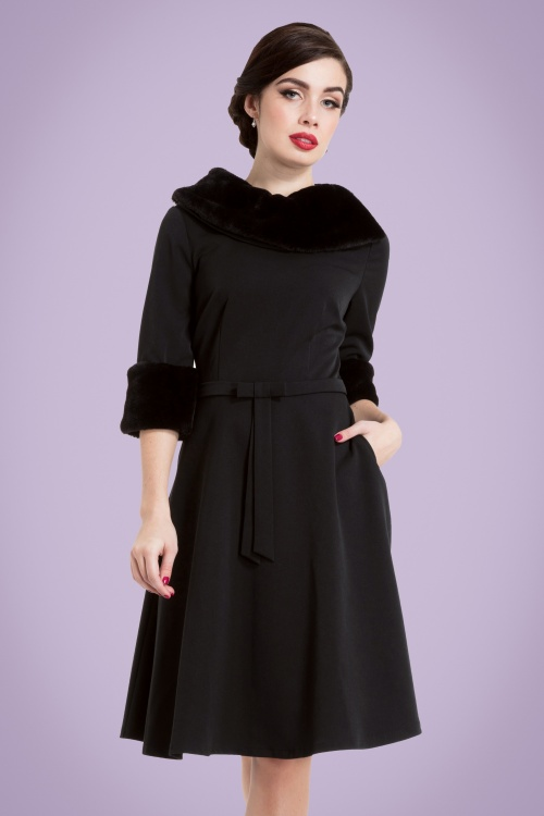 40s Tabitha Faux Fur Collar Dress in Black