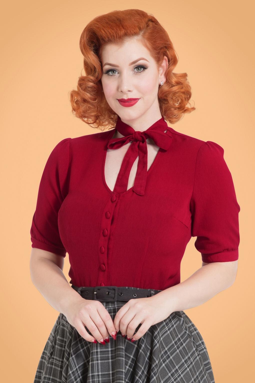 Vintage & Retro Shirts, Halter Tops, Blouses 40s Candice Bow Blouse in Dark Red £27.51 AT vintagedancer.com