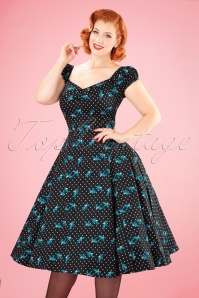 50s Dolores Rockabilly Swallows Doll Dress in Black