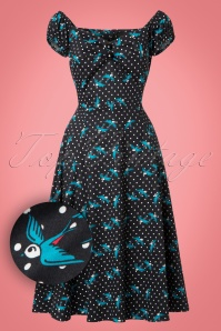 Collectif Clothing Dolores Rockabilly Swallow Swing Dress 21840 20170613 0017W1