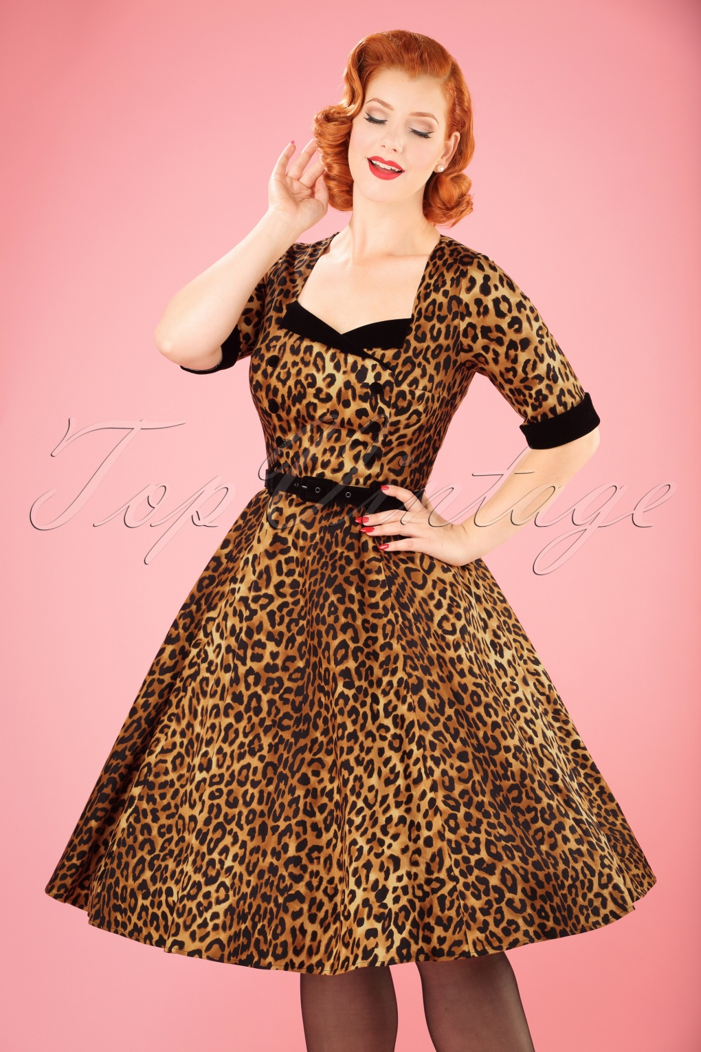 Pin Up Dresses | Pin Up Clothing 50s Quinn Doll Swing Dress in Leopard £72.32 AT vintagedancer.com