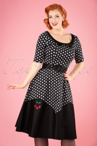 50s Cherry Polkadot Doll Swing Dress in Black and White