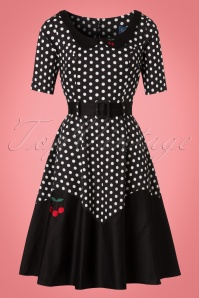 Collectif Clothing Cherry Polkadot Black White Swing Dress 21837 20170613 0017W