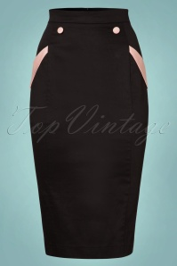 Collectif Clothing Stella Pencil Skirt in Black and Pink 21900 20170602 0003W