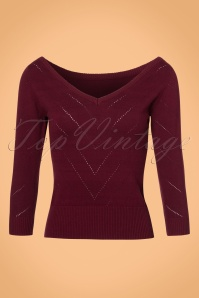 Collectif Clothing Bardot Boat Neck Sweather in Wine 21779 20170606 0021W