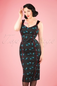 50s Samira Rockabilly Swallows Pencil Dress in Black