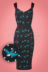 Collectif Clothing Samira Rockabilly Swallows Pencil Dress 21968 20170615 0003W1