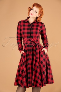 50s Mara Checked Shirt Dress in Black and Red