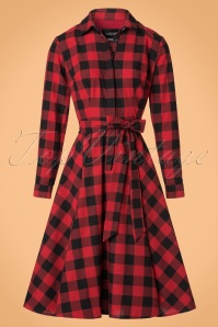 Collectif Clothing Mara Checked Shirt Dress in Black and Red 21834 20170613 0014