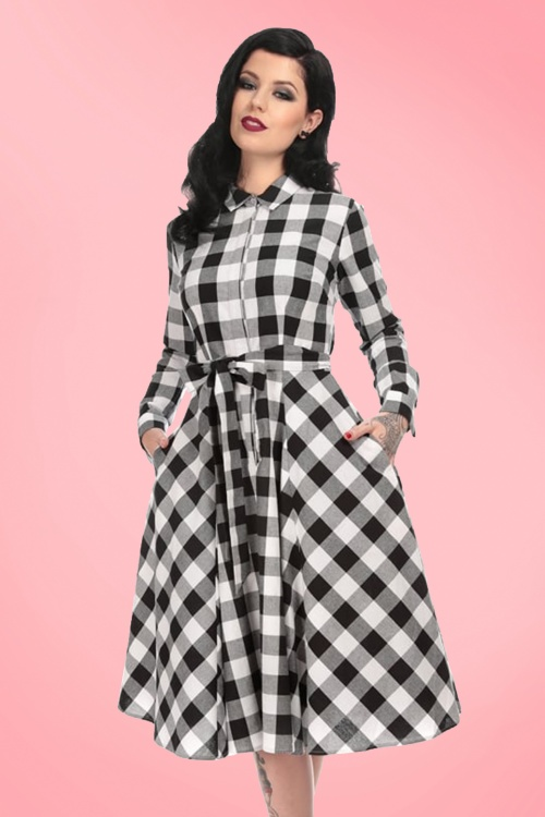 50s mara checked shirt dress in black and white for The best white dress shirt